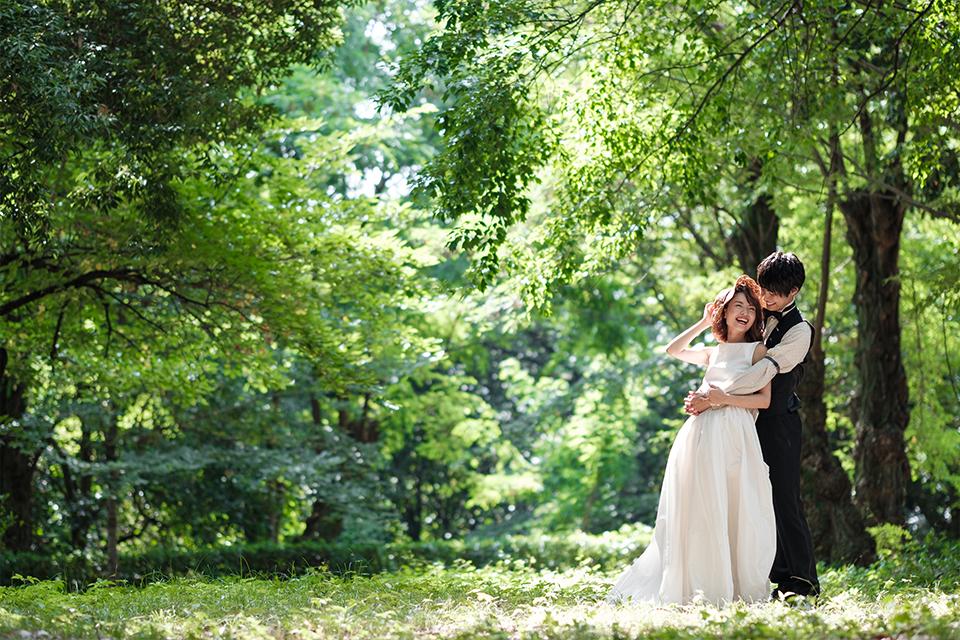 大阪城公園内でのドレス撮影