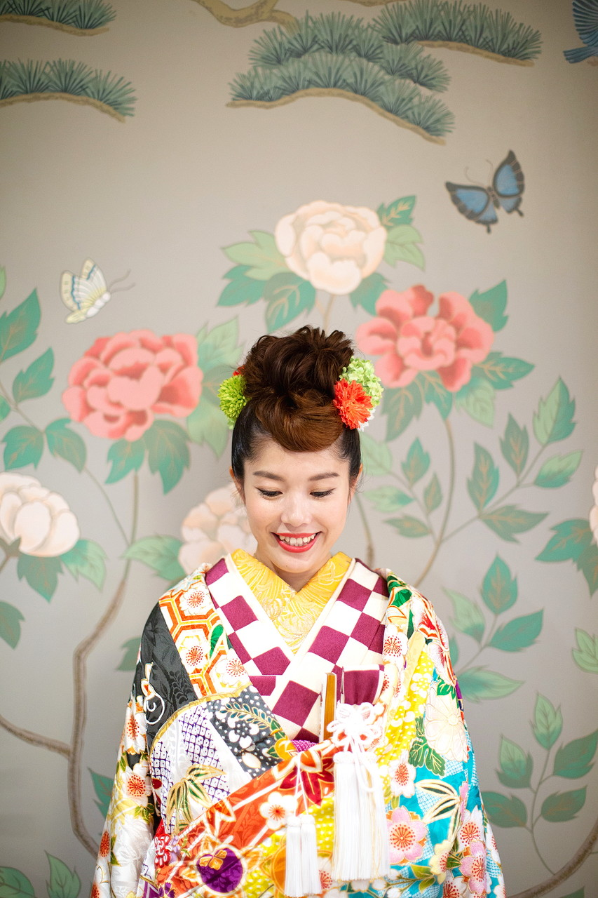 大阪城内の壁フォトと和装新婦